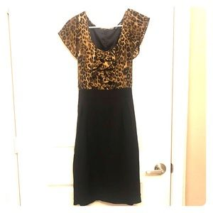 Black Business Casual Dress with Leopard Print Top